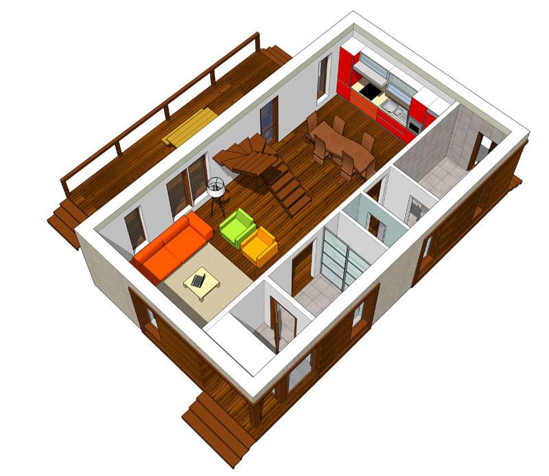 Проект каркаснощитового дома 7х9 Фаворит с мансардой и