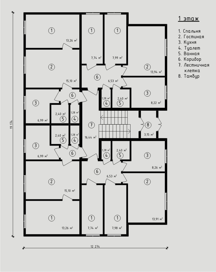390 м². Проект 8-квартирного жилого дома