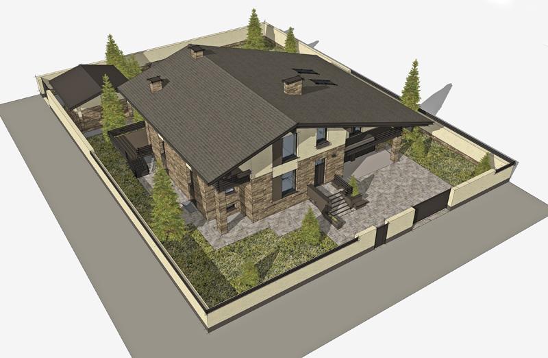 Расположение дома и бани и бассейна и гаража на участке дизайн