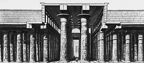 Гипостильный зал храма Амона-Ра в Карнаке. 14—12 вв. до н. э. Реконструкция