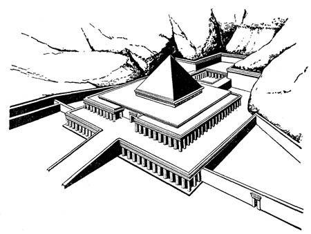 Реконструкция поминального храма фараонов XI династии Ментухотепов III и IV в Дейр-эль-Бахри