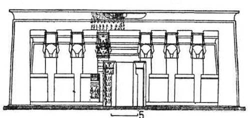 Храмы Древнего Египта. Храм Дендера. Гипостильный зал замыкается со стороны двора колоннадой вместо сплошной стены