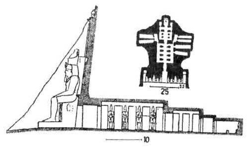 Храмы Древнего Египта. План и разрез храма Рамсеса II в Ибсамбуле