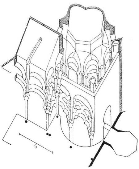 Архитектурные памятники мусульманской архитектуры. Конец одного из нефов Кордовской мечети и переплетающиеся аркады, поддерживающие купол святилища, или михраба.