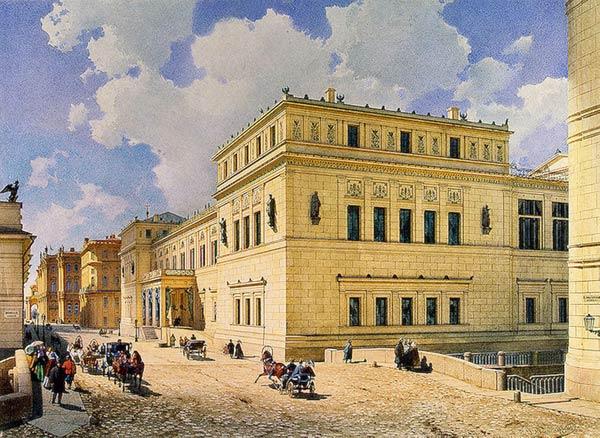 Вид Нового Эрмитажа. Акварель В. С. Садовникова, 1851 г.