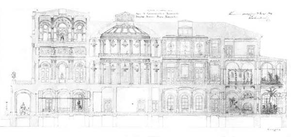 А. И.  Штакеншнейдер.  Проект Мариинского   дворца в Петербурге.  Поперечный разрез, 1841 г.
