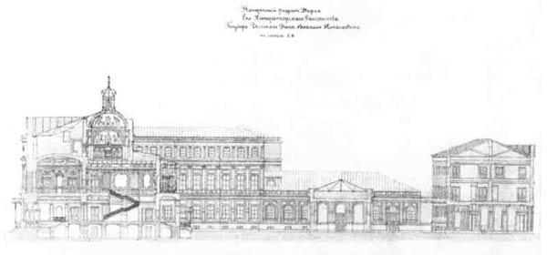 А. И.  Штакеншнейдер. Проект Ново-Михайловского дворца в  Петербурге.  Поперечный разрез, 1859 г.