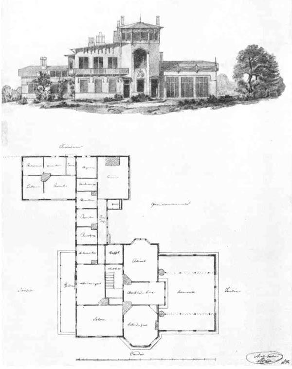 Г. А. Боссе. Проект загородного дома. Фасад и план, 1834 г.