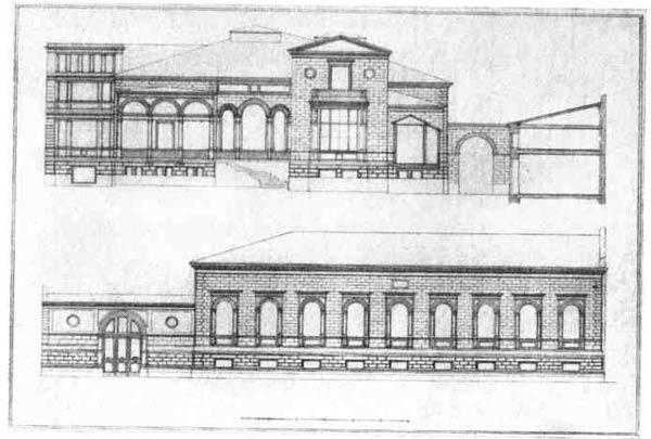 Г. А. Боссе. Проект собственного особняка. Садовый и уличный  фасады, 1850—1854 гг.