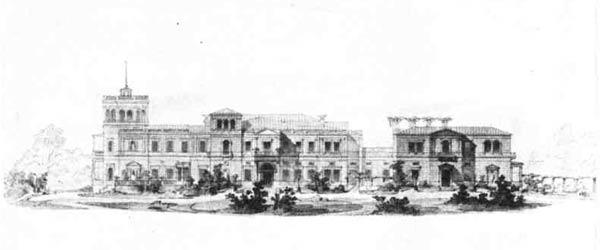 Г. А. Боссе. Проект дворца в Михайловке. Фасад, 1857—1862 гг.
