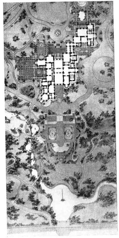 Г. А. Боссе. Проект дворца в Михайловке. Генеральный план,  1857—1862 гг.