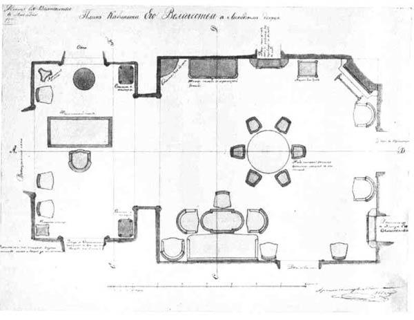 И. А. Монигетти. Проект дворца в Ливадии. План расстановки мебели в кабинете, 1866 г.