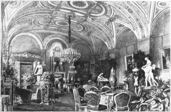 Интерьер Золотой гостиной в Зимнем дворце. Акварель, середина XIX  в.