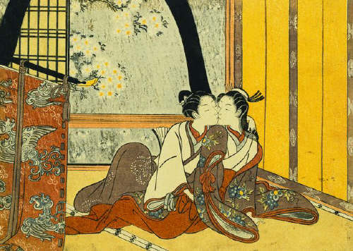 Ширма. Япония. Two Lovers in an Interior by a Yellow Blind attributed to Harunobu са. 1750-е