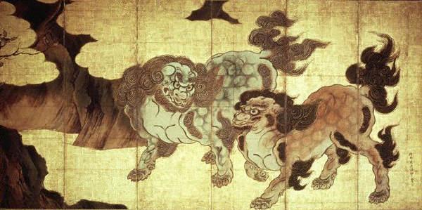 Ширма. Япония. Кано Эйтоку.  1573-1615