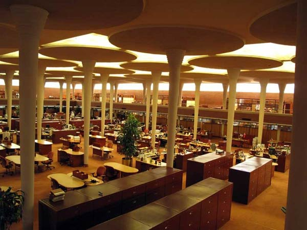Фрэнк Ллойд Райт (Frank Lloyd Wright): Johnson Wax Headquarters, Racine, Wisconsin (Здание управления компании «S.C Johnson & Son». Расин, Висконсин), 1936—1939