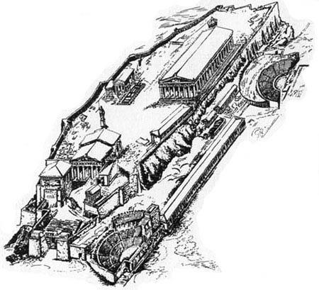 75. Акрополь в Афинах.  V в. до н.э. (графическая реконструкция) .