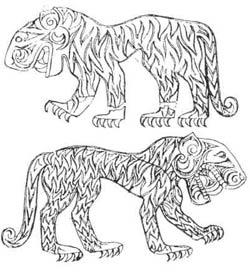 Изображение кошачьего хищника на скифском саркофаге из второго Башадарского Кургана, V век до н.э.