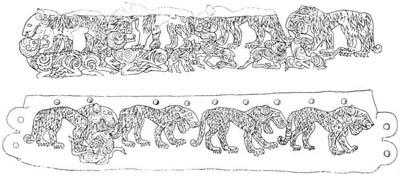 Сцена терзания, изображённая на крышке и стенке саркофага из II Башадарского кургана, V век до н.э.