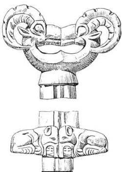 Скифо-сакский железный кинжал с изображением волков и горных козлов. Рука держащего его воина подпитывалась энергией из обеих противостоящих зон мироздания. Минусинск. V век до н.э.
