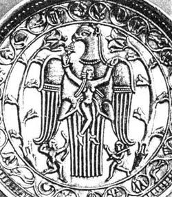 Богиня Анахита в когтях священой птицы Сенмурва. Иран. VI век н.э.