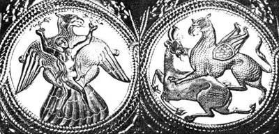 Изображение священных сцен терзания на кувшине из Наги Сент Миклош. Венгрия, IX век.