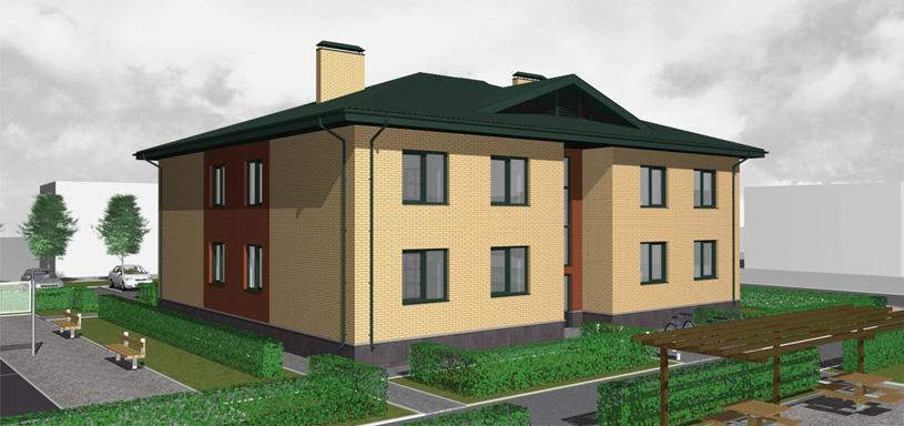 Типовой проект двухэтажного десятиквартирного жилого дома. Архитектор: Сергей Косинов. Новосибирск