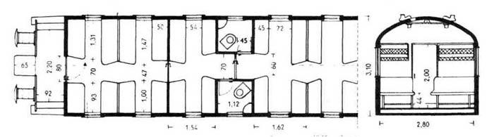 План пассажирского автобуса на 68 сидячих мест.  На 1 место 0,45 м2.  Общая длина вагона 19,66 м; длина отделений для...