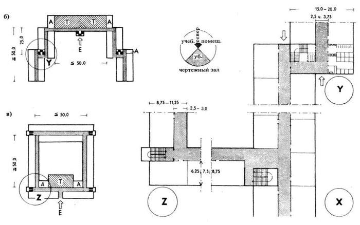 Схемы планировки многоэтажных школьных зданий.  Строительное проектирование.  Нойферт.