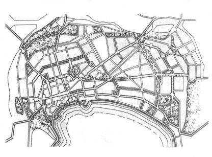 Баку. Схема планировки города,