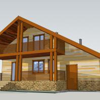 Проект двухэтажного одноквартирного дома с гаражем. АФ-студия, Новосибирск. Архитектор: Антонов Дмитрий