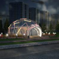 Конкурсный проект на павильон пиццерии в Новосибирске. Проектная организация: «АкадемСтрой». Руководитель проекта: Турецкий Б.М.;  Архитектор: Понкратова Е. 2015 г.