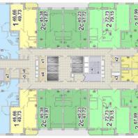 Жилой комплекс «Шесть Звезд» по ул. Аникина в Новосибирске. Типовой поэтажный план (блок 1б, 2-13 этаж)