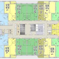 Жилой комплекс «Шесть Звезд» по ул. Аникина в Новосибирске. Типовой поэтажный план (блок 1б, 14-24 этаж)