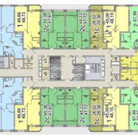 Жилой комплекс «Шесть Звезд» по ул. Аникина в Новосибирске. Типовой поэтажный план (блок 1а, 2-13 этаж)