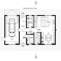 Эскизный проект дома «КАПИТАН». Архитектор: Сергей Косинов. Новосибирск. 2020 г. 2. План на отм. 0,000 (1 этаж)