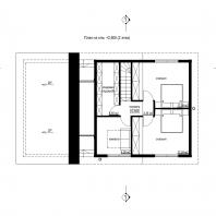 Эскизный проект дома «КАПИТАН». Архитектор: Сергей Косинов. Новосибирск. 2020 г. 3. План на отм.  2,600 (2 этаж)