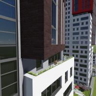 Эскизный проект жилого комплекса «ЧеховSky» в Новосибирске. Проектная организация: «АкадемСтрой». 2018 г.
