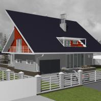 Эскизный проект индивидуального жилого дома с баней и гаражом. Архитектор: Сергей Косинов. Новосибирск