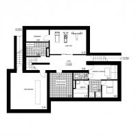Эскизный проект индивидуального жилого дома с баней и гаражом. План подвала. Архитектор: Сергей Косинов. Новосибирск