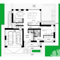 Эскизный проект индивидуального жилого дома с баней и гаражом. План 1 этажа. Архитектор: Сергей Косинов. Новосибирск