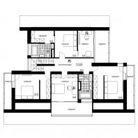 Эскизный проект индивидуального жилого дома с баней и гаражом. План 2 этажа. Архитектор: Сергей Косинов. Новосибирск