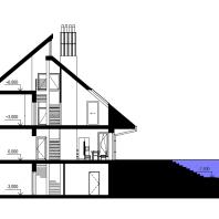 Эскизный проект индивидуального жилого дома с баней и гаражом. Разрез поперечный. Архитектор: Сергей Косинов. Новосибирск