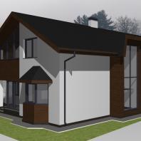 Проект одноквартирного двухэтажного кирпичного жилого дома в г. Междуреченске. Архитектор Сергей Косинов, Новосибирск