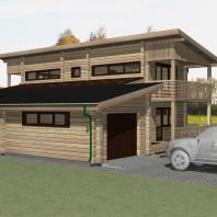 Эскизный проект двухэтажного деревянного дачного дома с подвалом, гаражем и баней. Архитектор Сергей Косинов. Новосибирск