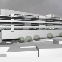 Эскизный проект здания многоуровневой автостоянки с административно-бытовыми помещениями. Архитекторы Лаер С.В., Косинов С.Ю.