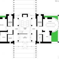Концепция реконструкции коттеджа. План 1-го этажа. Архитектор: Сергей Косинов. Новосибирск
