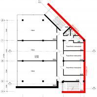 Концептуальный проект общественного здания «RED WALL». План 2-3-го этажа. Архитектор: Сергей Косинов. Новосибирск