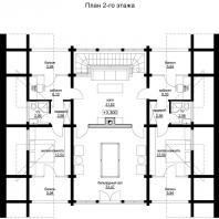 Проект одноквартирного 3-х этажного деревянного дома. План 2-го этажа. Архитектор Сергей Косинов. Новосибирск. 2015 г.
