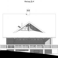 Проект одноквартирного 3-х этажного деревянного дома. Фасад. Архитектор Сергей Косинов. Новосибирск. 2015 г.